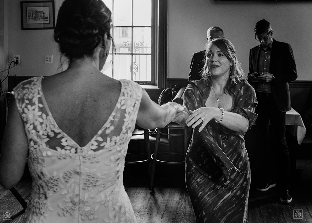 Bride dancing with her best friend at wedding in Virginia