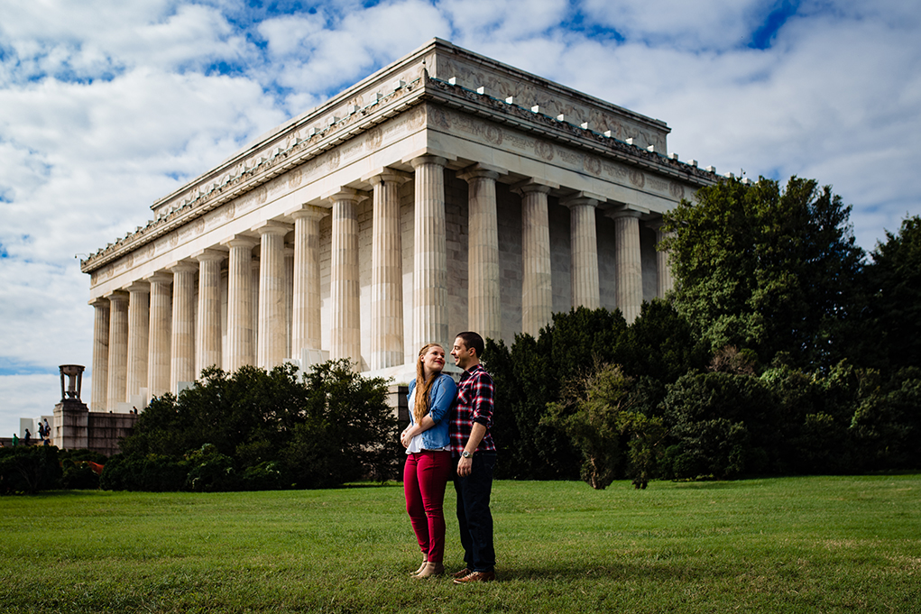 Courtney Nick Lincoln Memorial Monument Part Washington DC Engagement Session