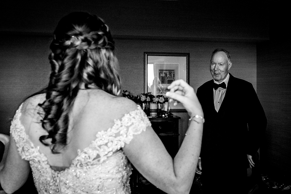 Bride's first look with dad at Omni Shoreham DC wedding by DC wedding photographers Potok's World Photography