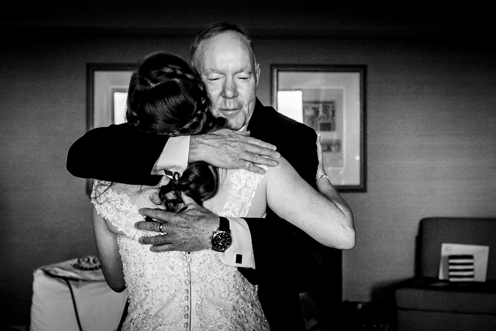 Bride's emotional first look with dad at Omni Shoreham DC wedding by DC wedding photographers Potok's World Photography