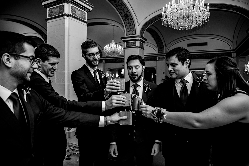 Bridal party toast in reception at Omni Shoreham DC wedding by DC wedding photographers Potok's World Photography