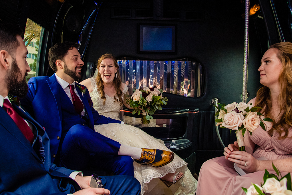 Bride and groom with their bridal party on the way to the Omni Shoreham Hotel by DC wedding photographers Potok's World Photography