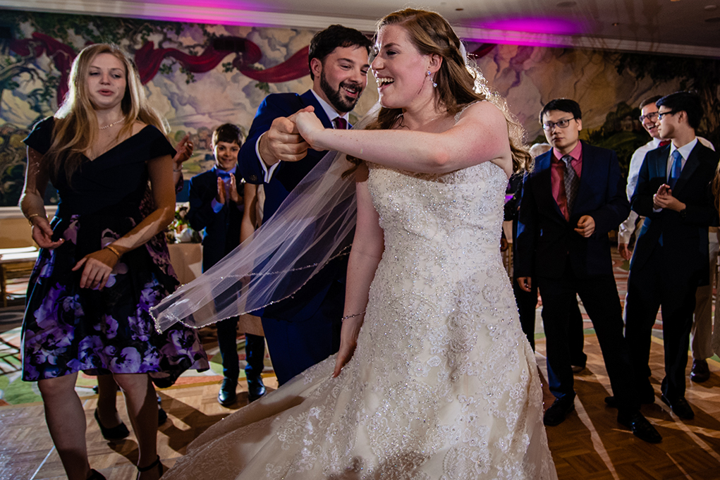 Bride and groom dancing at the reception of the Omni Shoreham DC wedding by DC wedding photographers Potok's World Photography