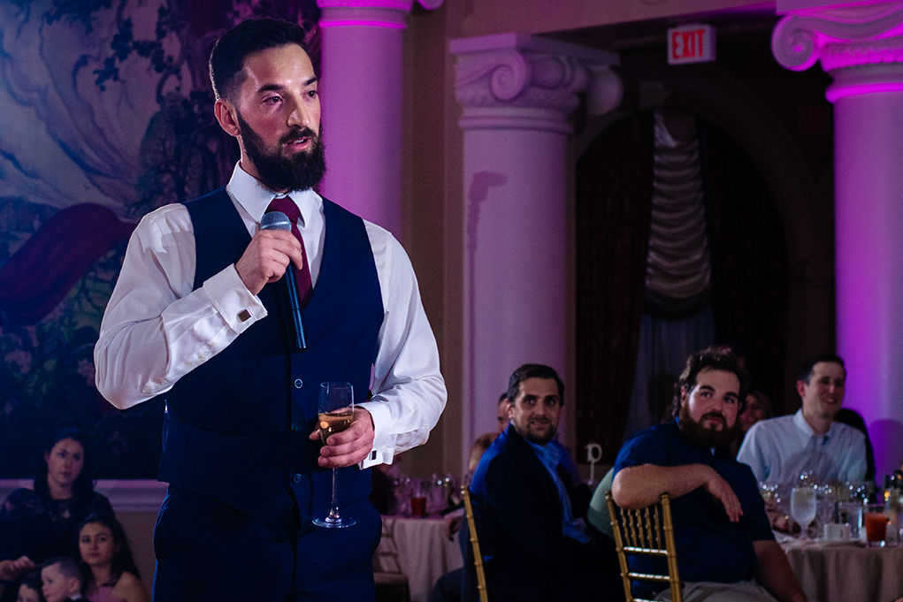 Best man giving a speech at the wedding reception of the Omni Shoreham DC wedding by DC wedding photographers Potok's World Photography