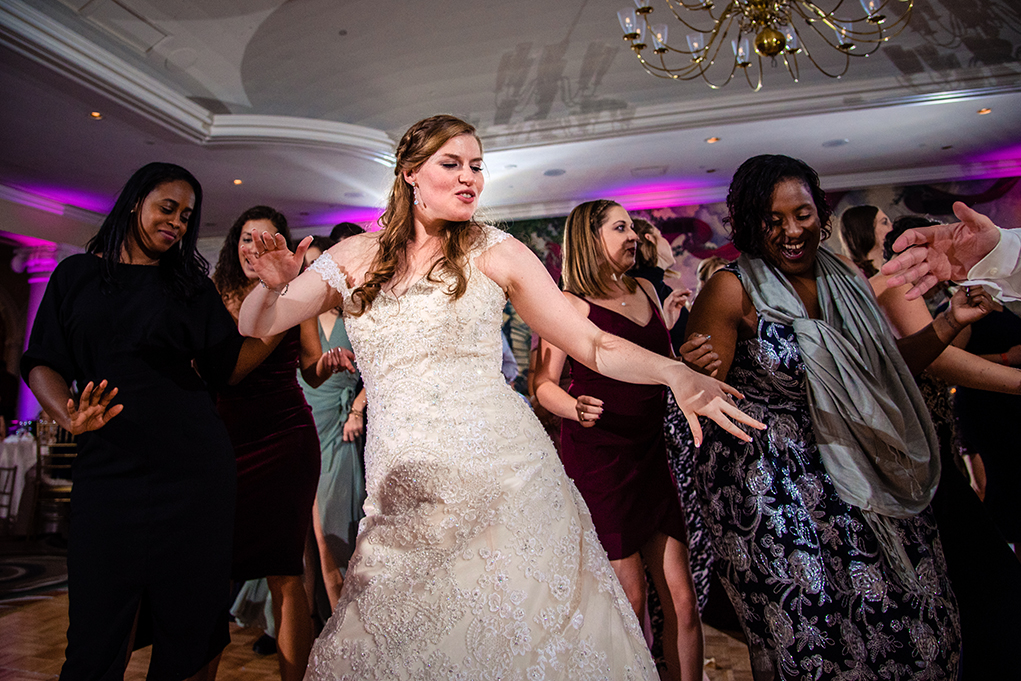 Bride and guests dancing during wedding reception at the Omni Shoreham DC wedding by DC wedding photographers Potok's World Photography