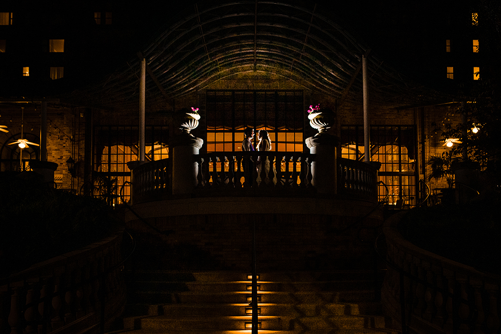 Night portraits of the bride and groom at the Omni Shoreham DC wedding by DC wedding photographers Potok's World Photography