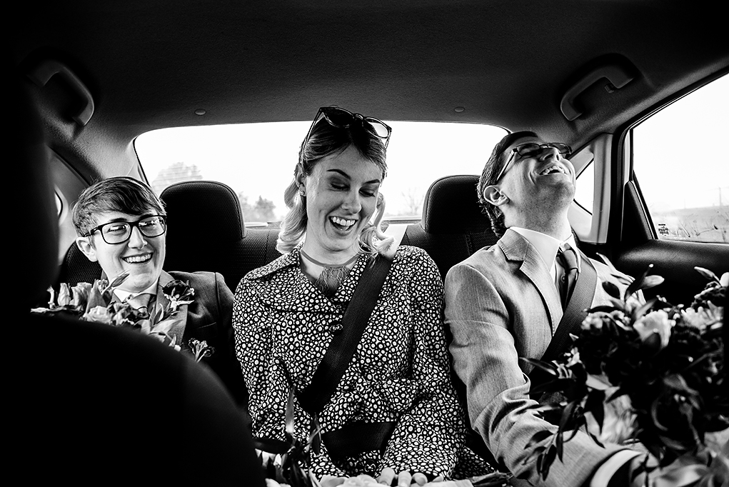 Bride and friends on the way to first look before City Club of Washington wedding by DC wedding photographers Potok's World Photography