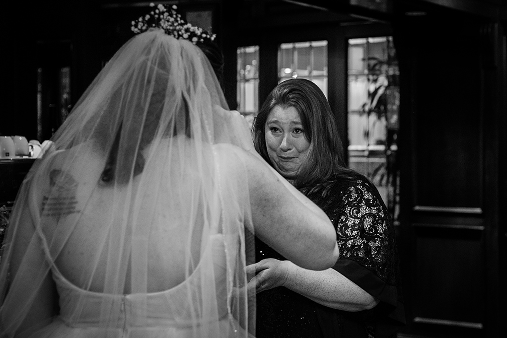 Bride's first look with mom at the City Club of Washington by DC Wedding photographers of Potok's World Photography