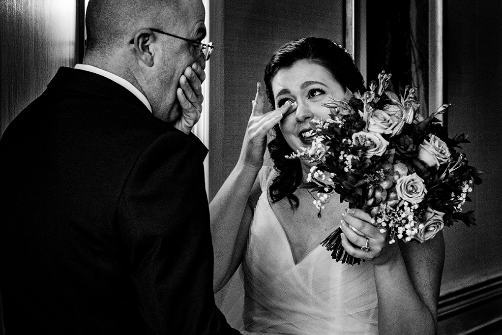 Bride's first look with dad before the wedding ceremony at the City Club of Washington by DC wedding photographers Potok's World Photography