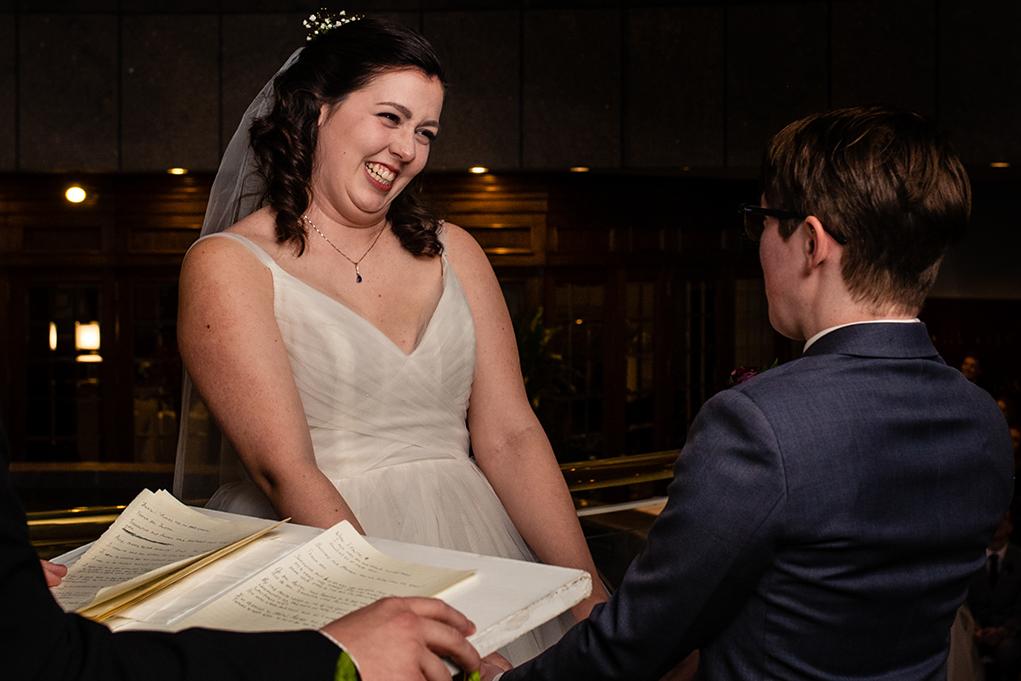 Two brides saying I do at the City Club of Washington by DC wedding photographers Potok's World Photography