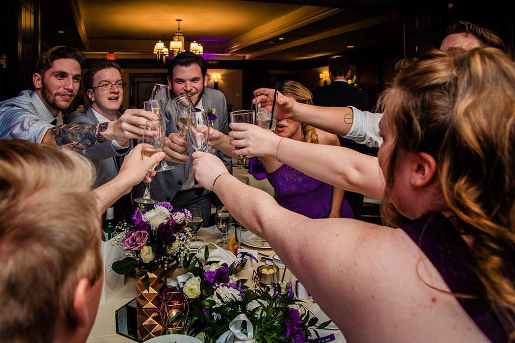 Bridal party toast at City Club of Washington reception by DC wedding photographers Anji and Pete Martin of Potok's World Photography