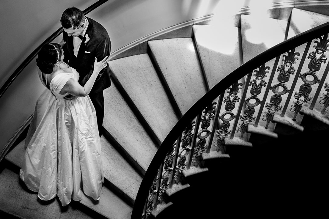 First look on grand stairs at the Kimpton Hotel Monaco in Washington DC by Potok's World Photography