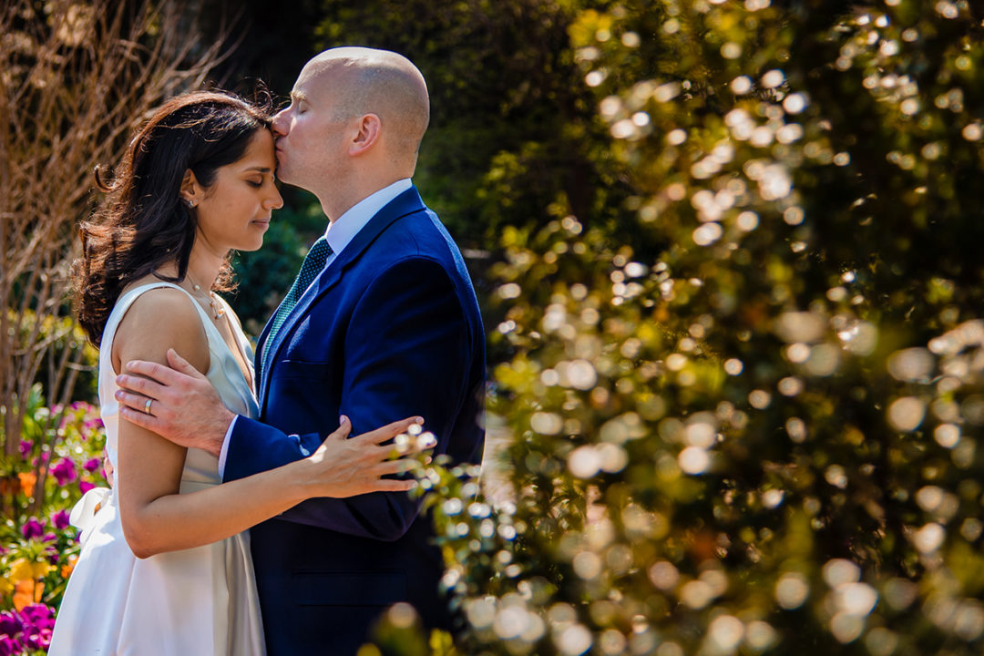 Intimate wedding and outdoor photos of bride and groom at the National Cathedral in Washington DC by Potok's World Photography