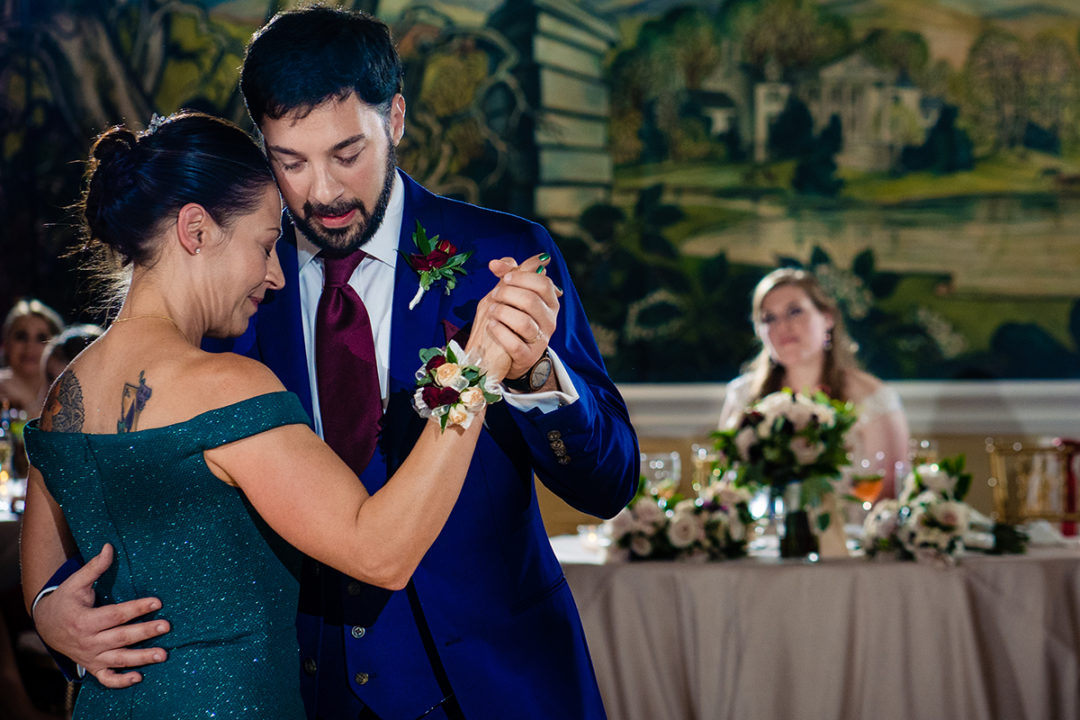 Mother son dance at a wedding reception at the Omni Shoreham Hotel which is one of the best 10 wedding venues in Washington DC by Potok's World Photography