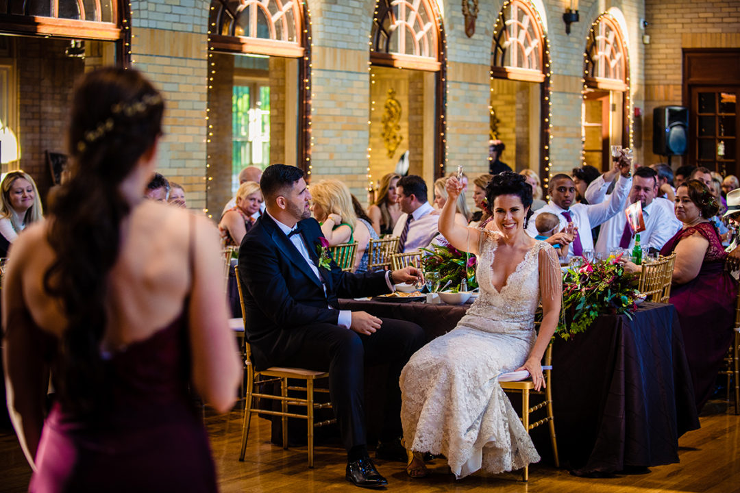 Wedding reception and toasts at St. Francis Hall, one of the 10 best wedding venues in Washington DC by Potok's World Photography