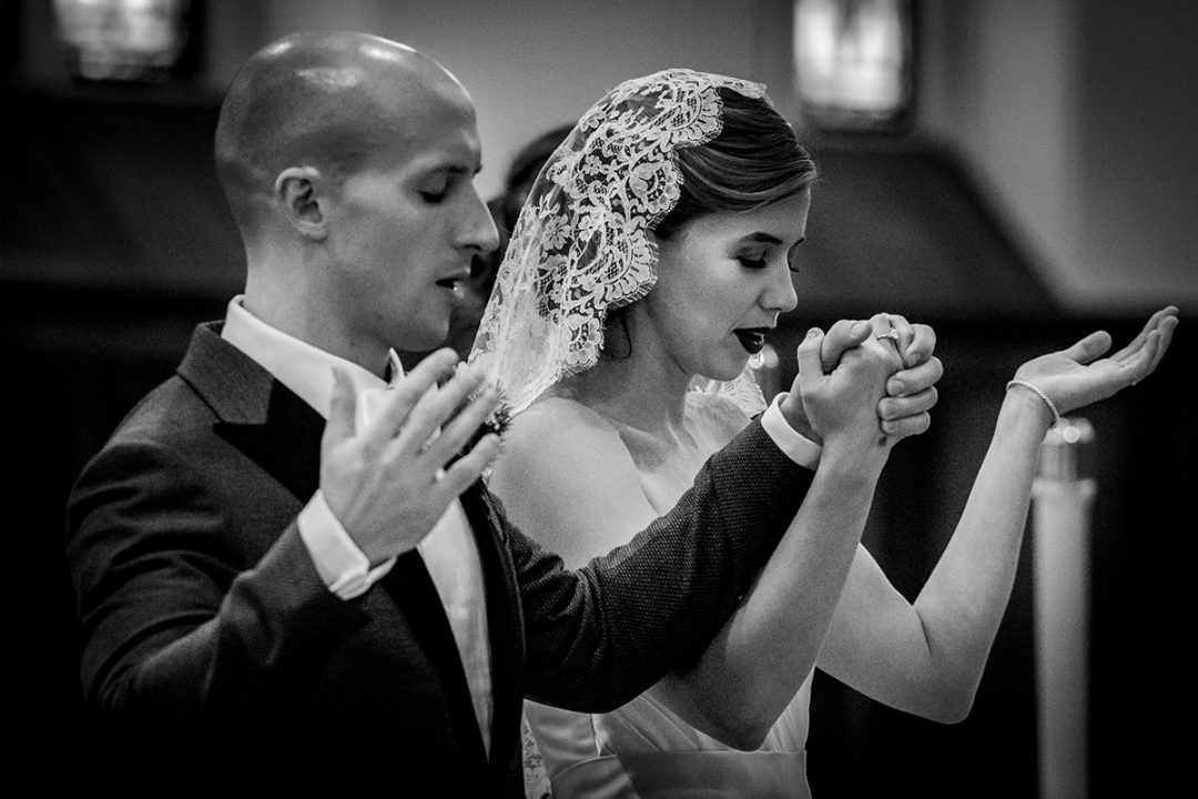 Church wedding ceremony bride and groom at St. James in Virginia by DC wedding photographers of Potok's World Photography