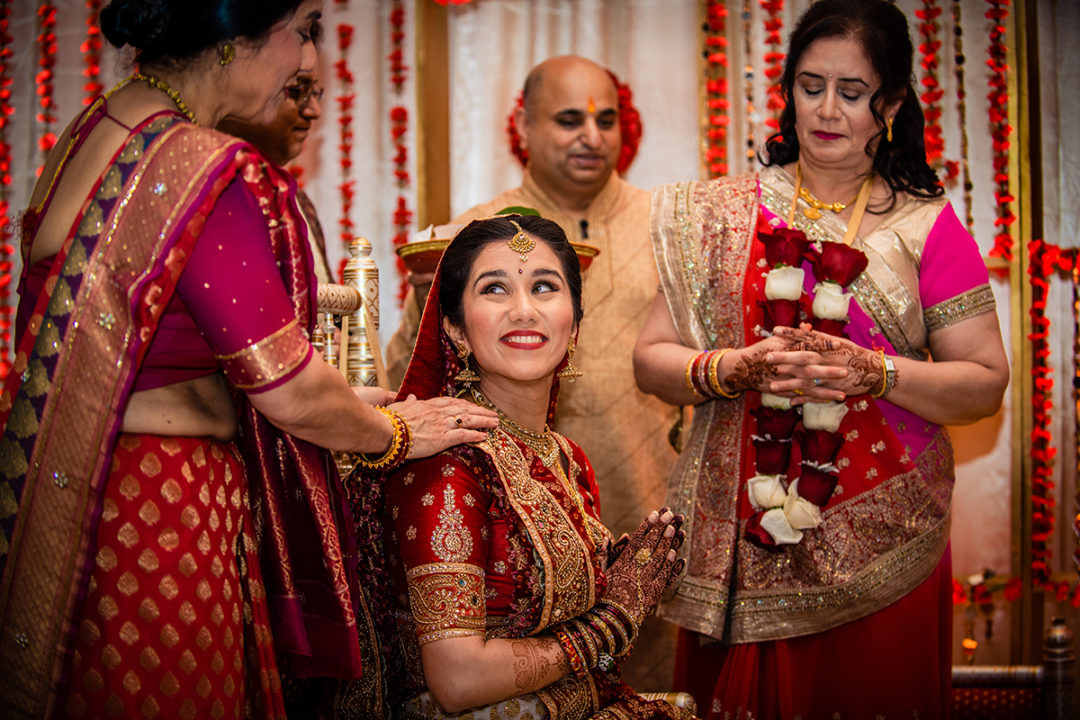 Documentary wedding photography of Indian bride with family at Hyatt Regency Dulles, Virginia by Washington DC wedding photographer Anji Martin of Potok's World Photography