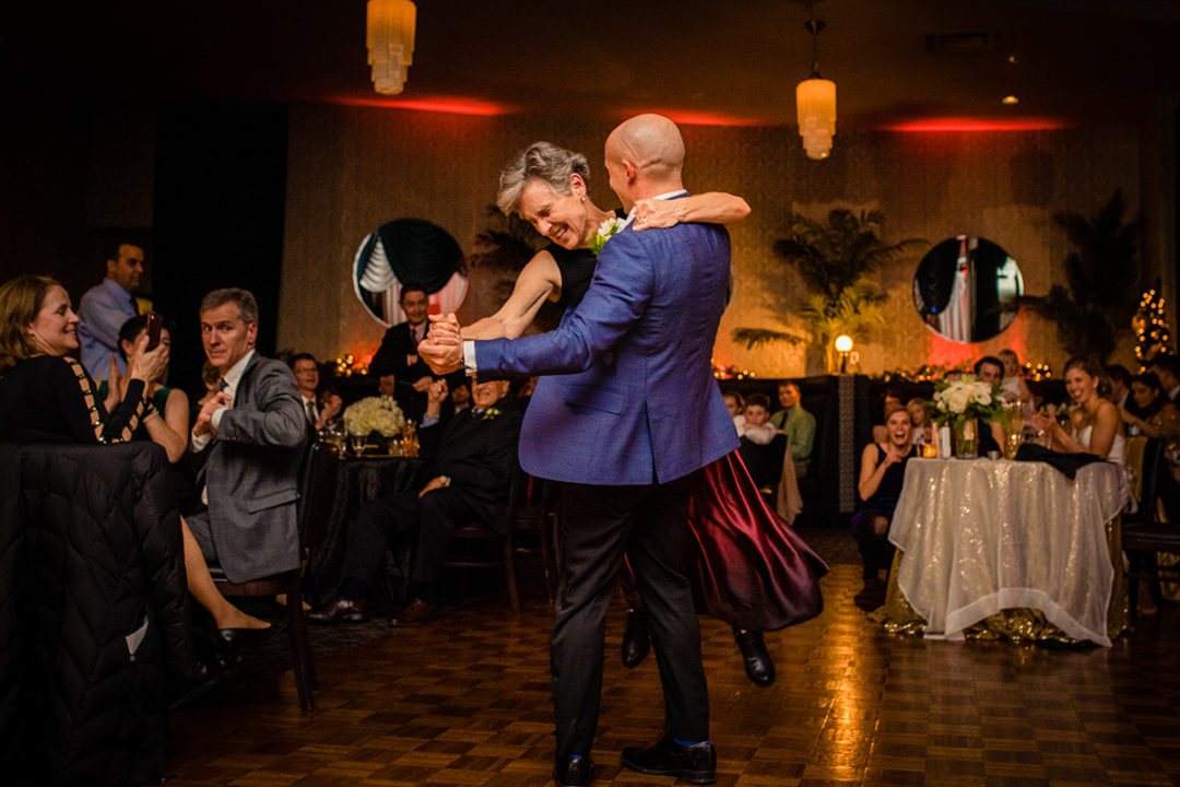 Fun mother-son dance at the Carlyle Club Alexandria wedding reception by DC wedding photographers Potok's World Photography