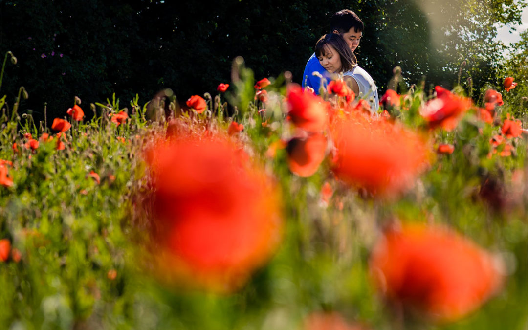 Couple amidst red poppy flowers during engagement session by DC wedding photographer Potok's World Photography
