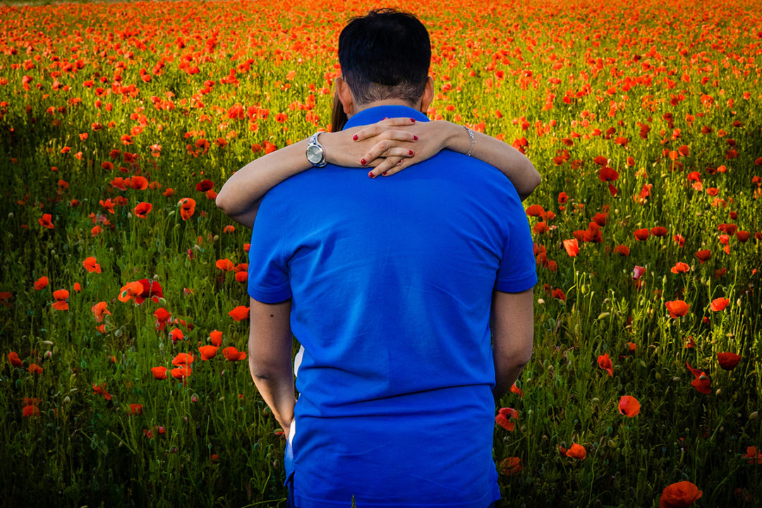 Spring engagement photos in red poppy fields by DC wedding photographer Potok's World Photography
