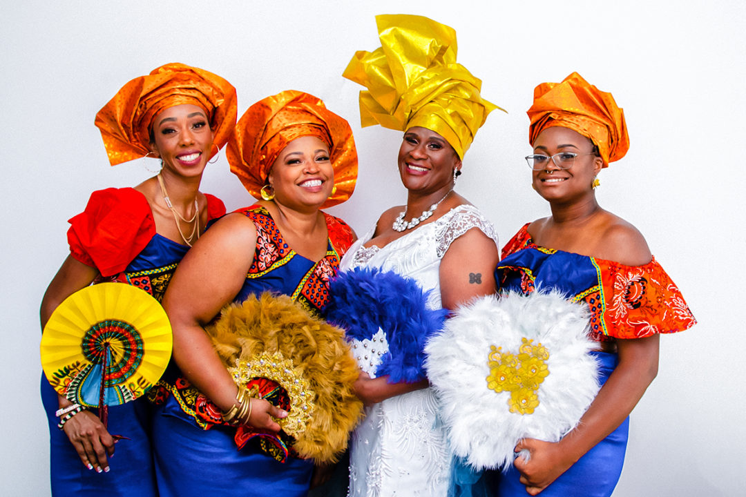 Ghanaian bride with bridesmaids in traditional dresses during micro wedding at Fathom Gallery by DC wedding photographers Potok's World Photography