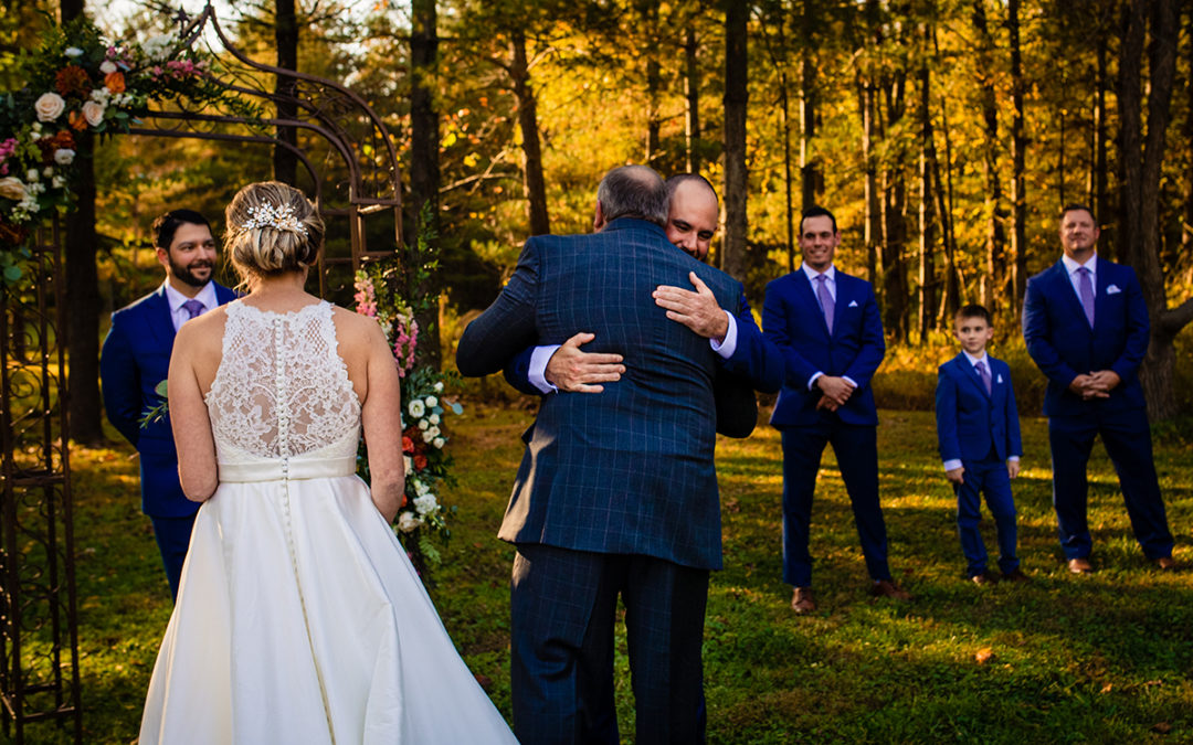 Fall outdoor wedding ceremony at Vanish Brewery in Virginia by DC wedding photographers of Potok's World Photography