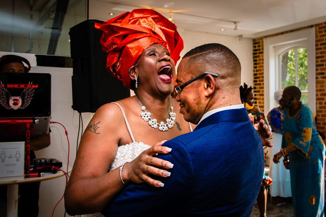 First dance photo at Fathom Gallery mini wedding by DC wedding photographer Potok's World Photography