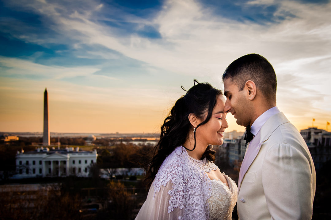 Bride and groom portrait at the Hay Adams DC by Potok's World Photography