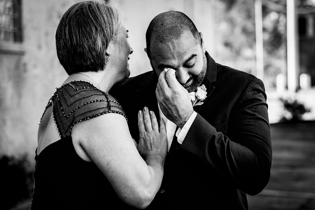 First look with groom and mom during destination wedding Dayton Ohio by DC wedding photographers of Potok's World Photography