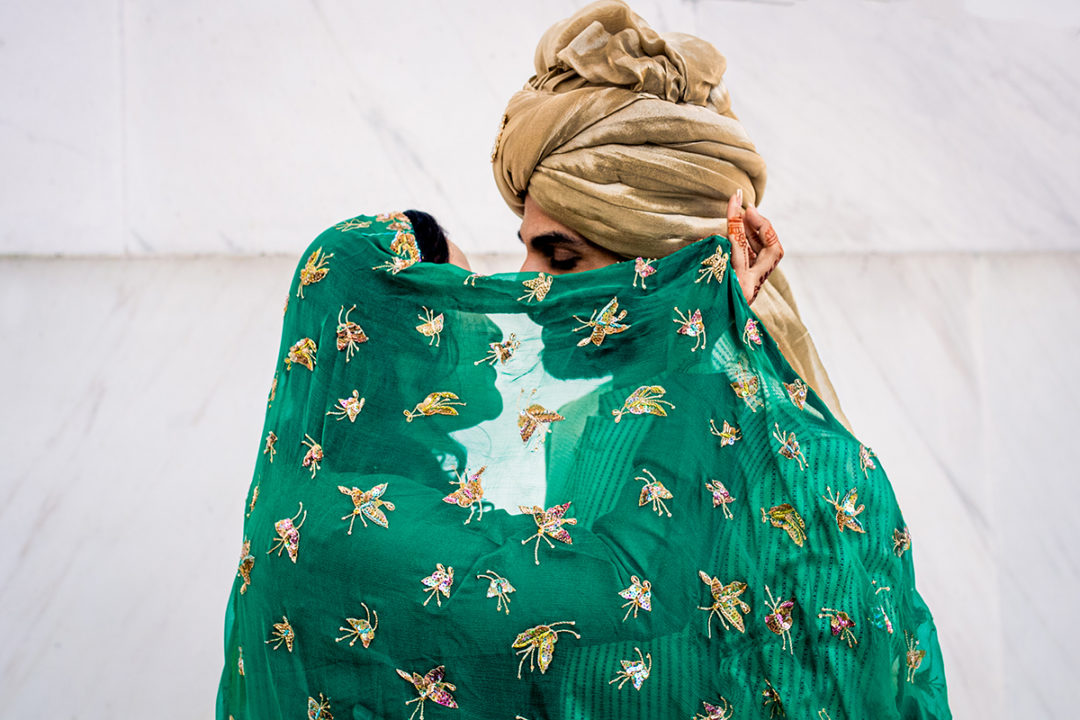 South Asian bride and groom portrait at the Lincoln Memorial by Potok's World Photography