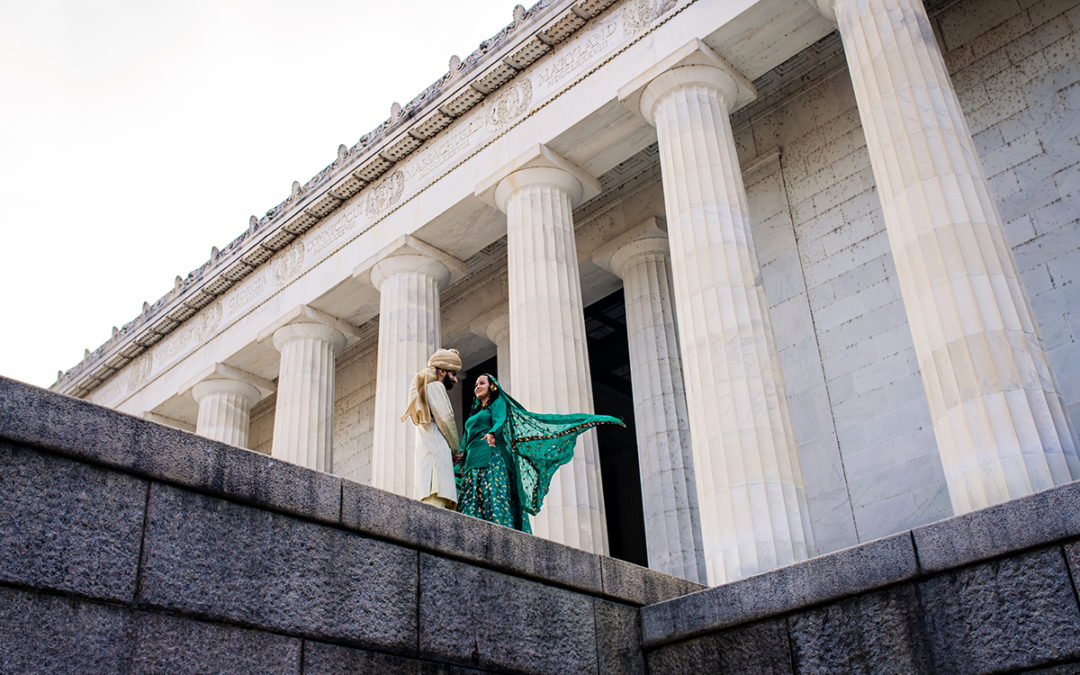 Creative south-asian bride and groom portraits at the Lincoln Memorial by DC wedding photographer of Potok's World Photography