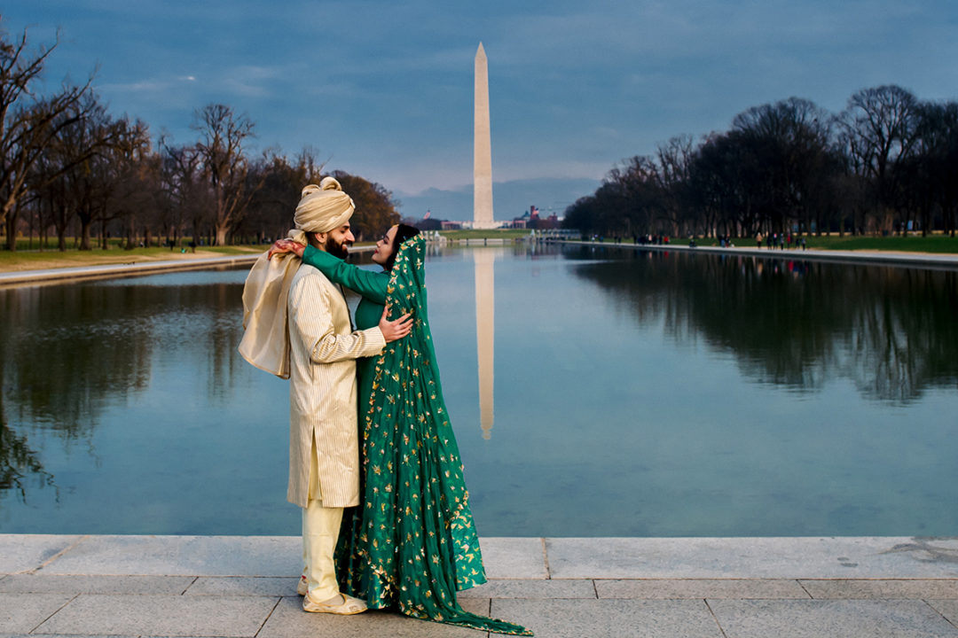 Creative south-asian bride and groom portraits at the reflecting pool by DC wedding photographer of Potok's World Photography