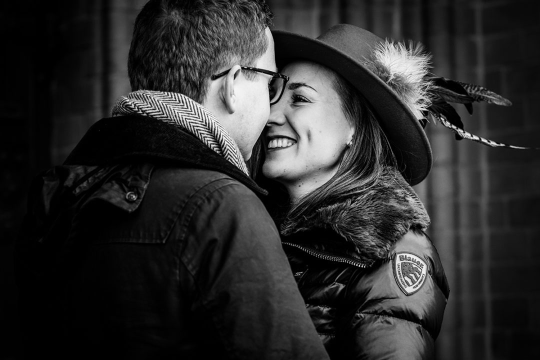 Winter engagement session with hat accessory by DC wedding photographers of Potok's World Photography