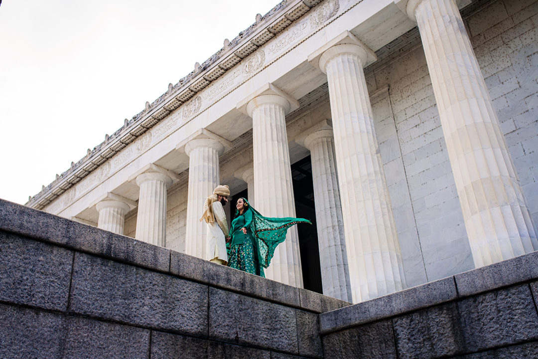 Bride and groom portrait at the Lincoln Memorial by DC wedding photographers of Potok's World Photography