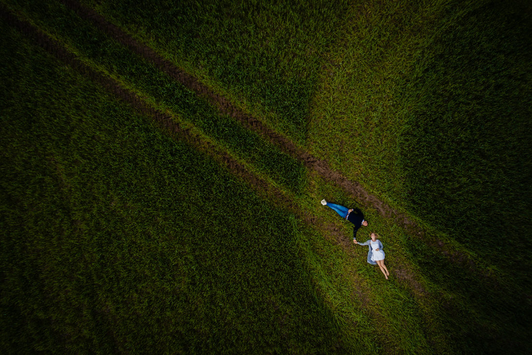 Drone engagement session in the spring by DC wedding photography of Potok's World Photography