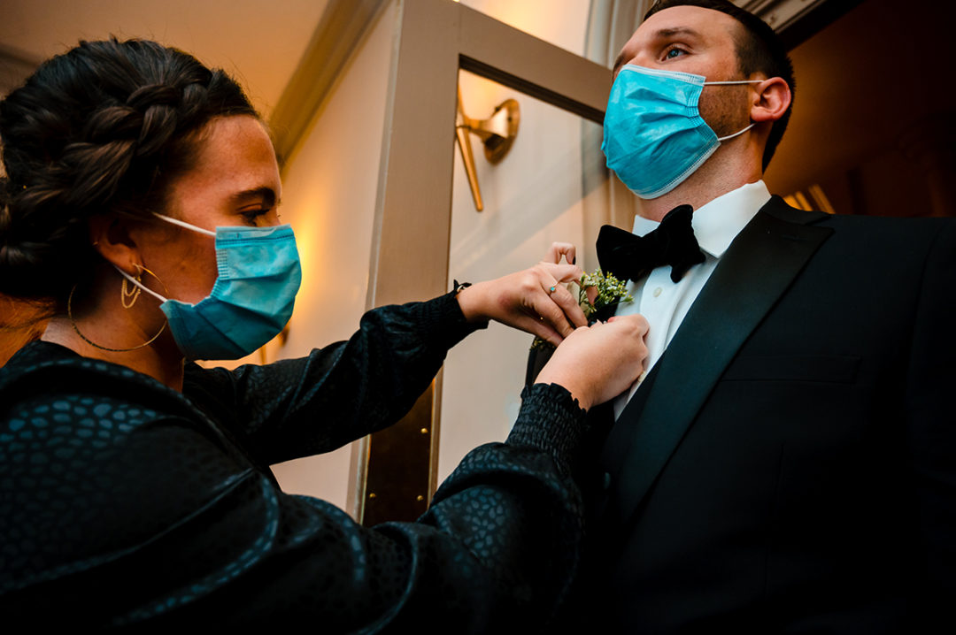 Micro wedding at Capitol Hill with groom in mask by DC wedding photographers of Potok's World Photography