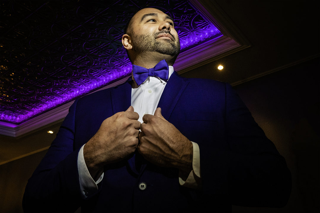 Creative groom portrait at the Windamere in Ohio by DC wedding photographers of Potok's World Photography