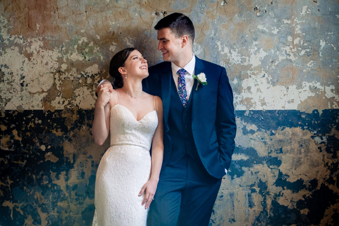 Bride and groom portrait at the Winslow in Baltimore by DC wedding photographers of Potok's World Photography