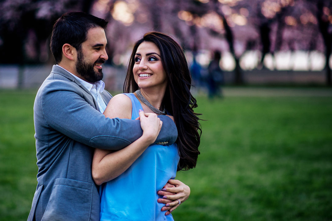 Cherry blossom engagement session at the DC Tidal Basin by Potok's World Photography