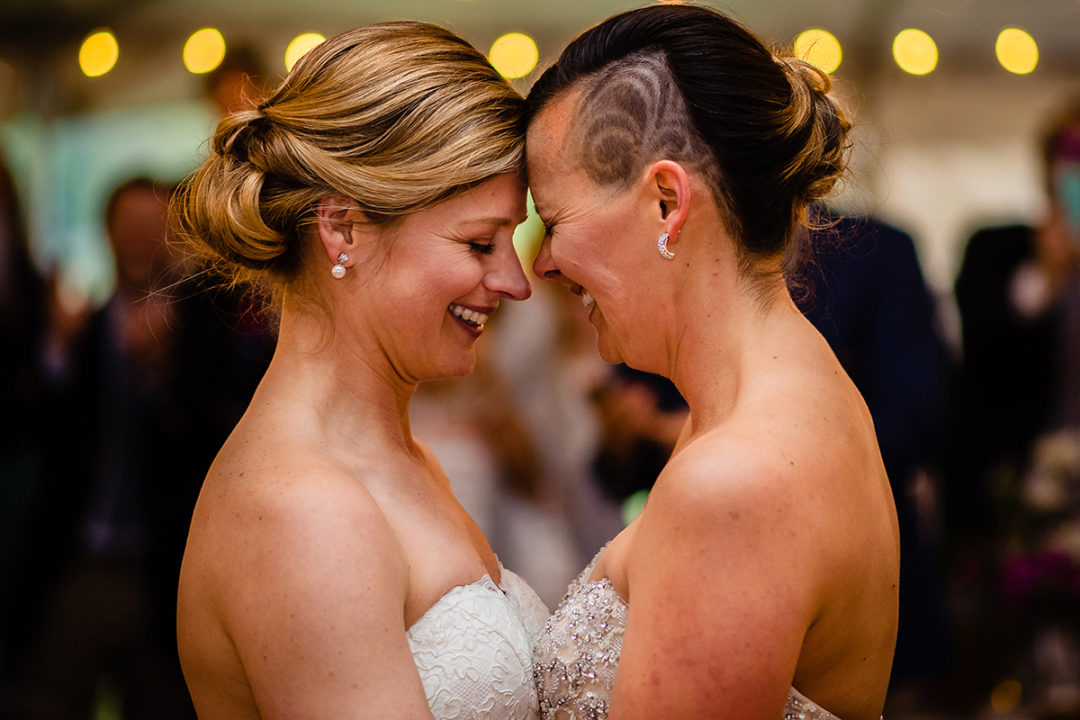 LGBTQAI+ wedding reception at Waredaca Brewery in Maryland by DC wedding photographers of Potok's World Photography