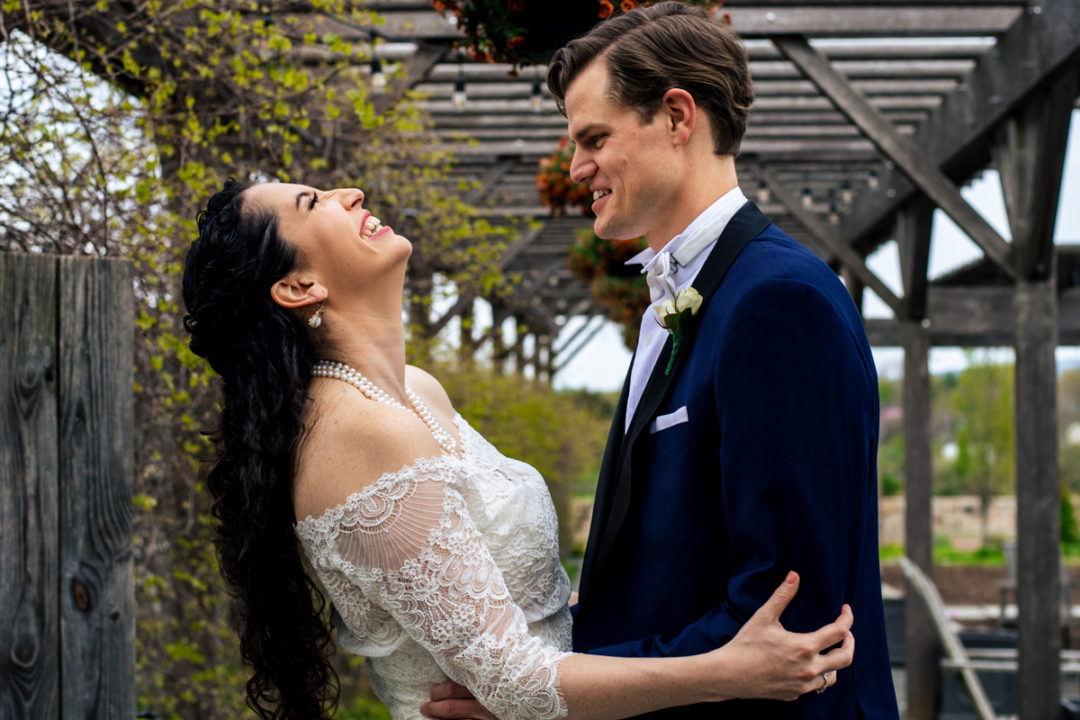 Bride and groom portrait at the culinary garden at Salamander Resort in Middleburg Virginia by DC wedding photographer of Potok's World Photography