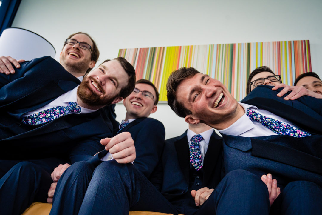 Groom and groomsmen portrait at Canopy by Hilton Baltimore Harbor Point by DC wedding photographers of Potok's World Photography
