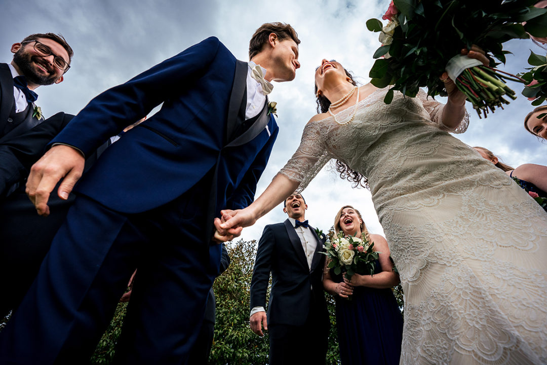 Bride, groom and wedding party fun portraits at Salamander Resort in Middleburg, Virginia by DC wedding photographers of Potok's World Photography