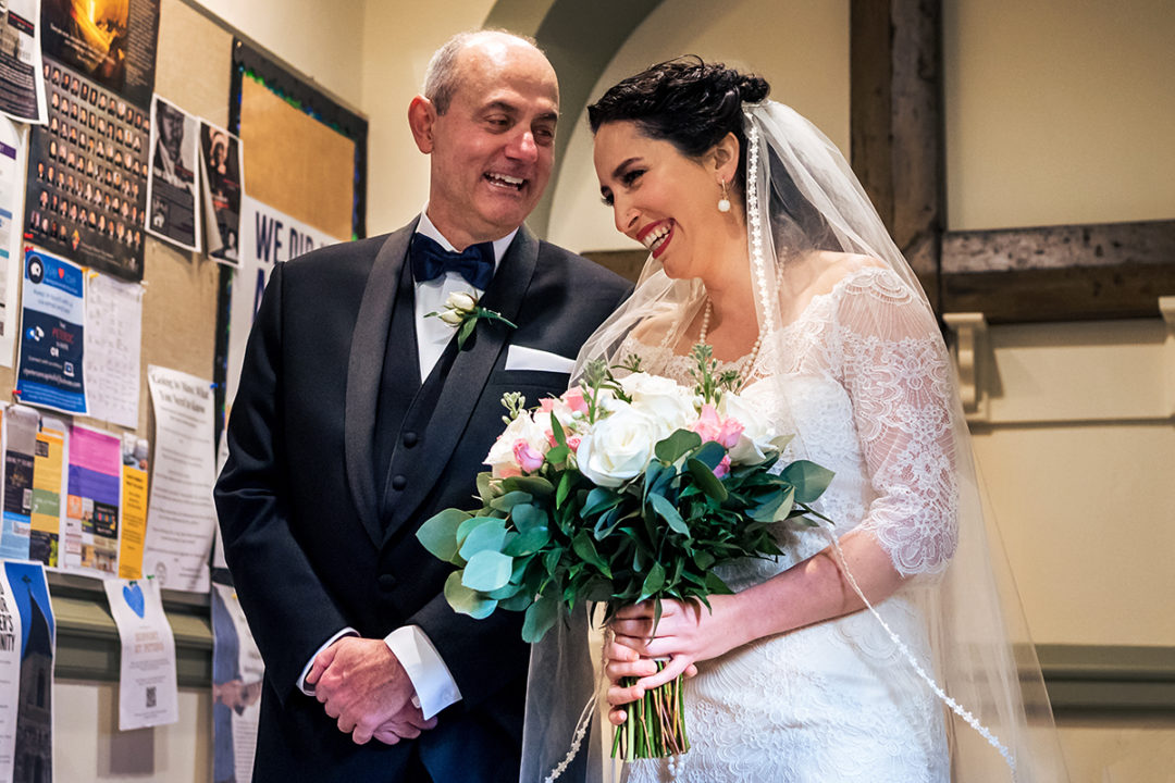 Moment between father and bride before church ceremony in DC by Potok's World Photography